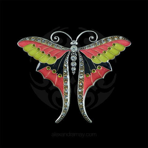 Au Bout Des Reves Black, Pink & Lime Enamel Butterfly Brooch (ABR109)
