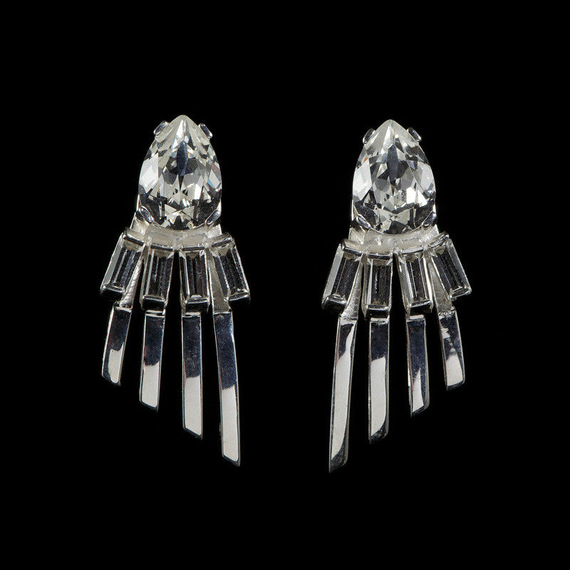 Cabinet 'Arctic' Clear Crystal Silver Earrings (CO9-CS-S)