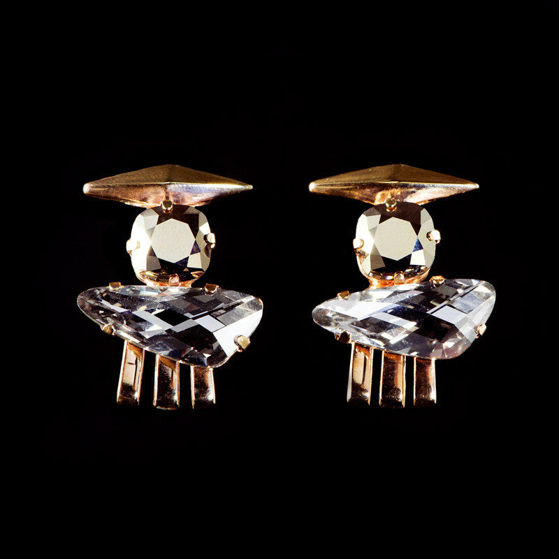 Cabinet Bronze & Clear Crystal Rose Gold 'Inca' Earrings (C100)