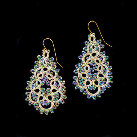 Contessina Silver & Peacock Petrol Crystal Bead Earrings