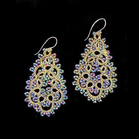 Contessina Olive & Peacock Petrol Crystal Bead Earrings