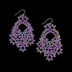 Contessina Purple & Peacock Petrol Crystal Bead Earrings