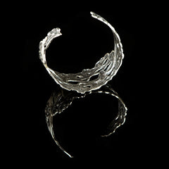 Sterling Silver Art Nouveau Flower Maiden Cuff Bracelet - back