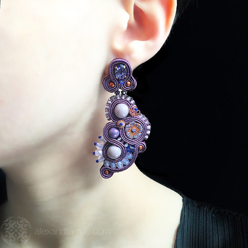 Heidi Bennett 'Lucille' Lavender & Amber Earrings (HB022) model