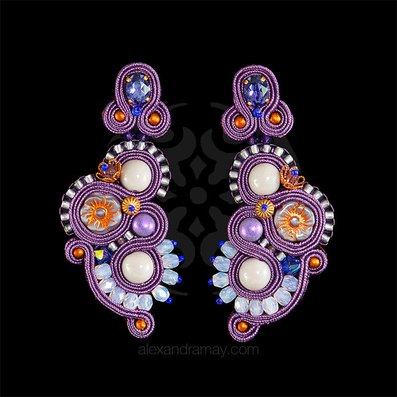 Heidi Bennett 'Lucille' Lavender & Amber Earrings (HB022)