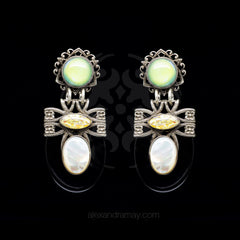 Jean-Louis Blin Art Nouveau Gloss Black and Mother of Pearl Clip-on Earrings