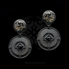 Jean-Louis Blin Large Oxidised Black Chinoiserie Disc Clip-on Earrings (JLB6770)