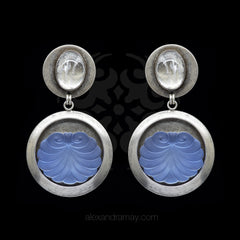 Jean-Louis Blin Silver & Pastel Blue Ice Scroll Disk Clip-on Earrings (JLB6855)