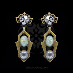 Jean-Louis Blin Bronze Modernist Hematite Crystal and Art Glass Clip-on Earrings (JLB7032)