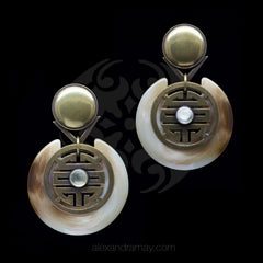 Jean-Louis Blin Large Bronzed Oriental Disk Clip-on Earrings (JLB7003bis)