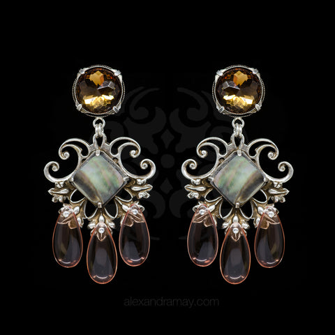 Jean-Louis Blin Silver & Abalone, Pale Pink Clip-on Earrings (JLB6608)