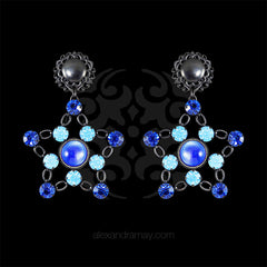 Jean-Louis Blin Black Star & Cobalt Blue Swarovski Clip-on Earrings (JLB6943a)