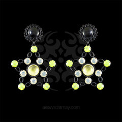 Jean-Louis Blin Black Star & Icy Yellow Swarovski Clip-on Earrings (JLB6943b)