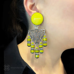 Jean Louis Blin Glorious Yellow and Silver Cascade Clip-on Earrings (JLB6979) Model