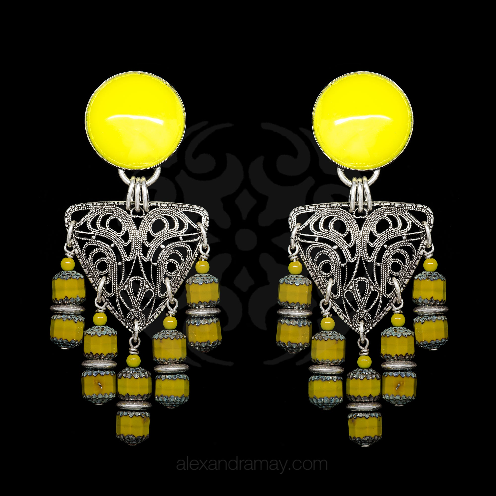 Jean Louis Blin Glorious Yellow and Silver Cascade Clip-on Earrings (JLB6979) Front