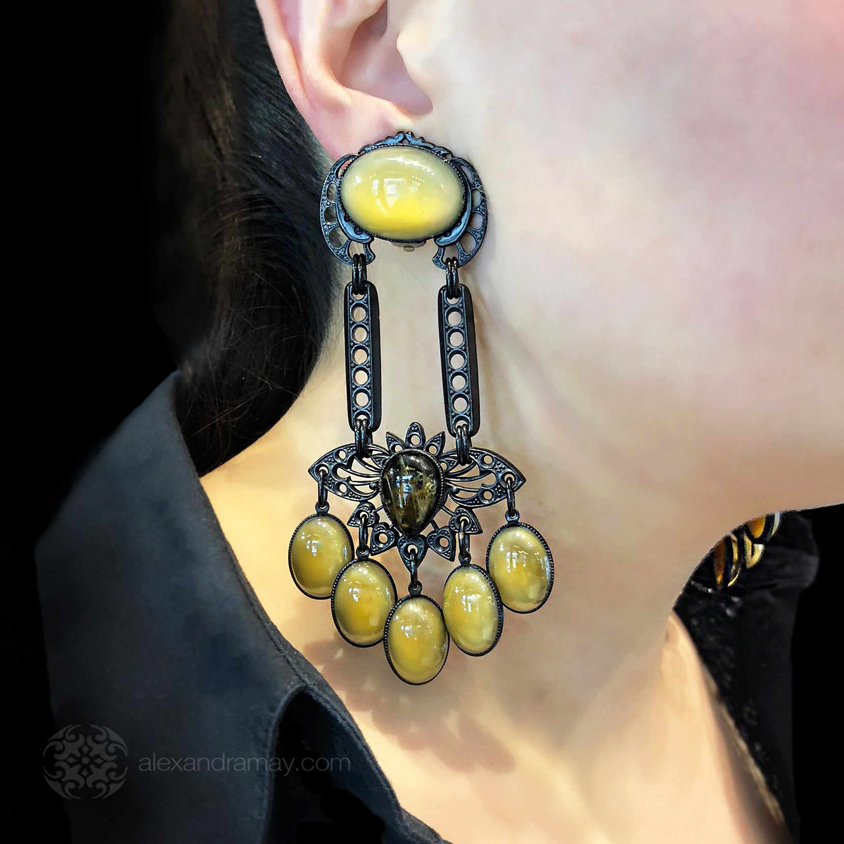 Jean-Louis Blin Black Caramel and Butterscotch Nouveau Earrings (JLB300) Model