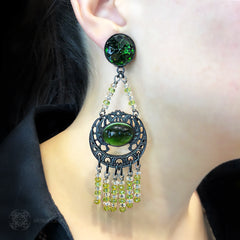 Jean-Louis Blin Emerald and Moss Green Black Nouveau Earrings (JLB7170) Model