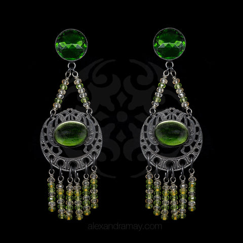 Jean-Louis Blin Emerald and Moss Green Black Nouveau Earrings (JLB7170)