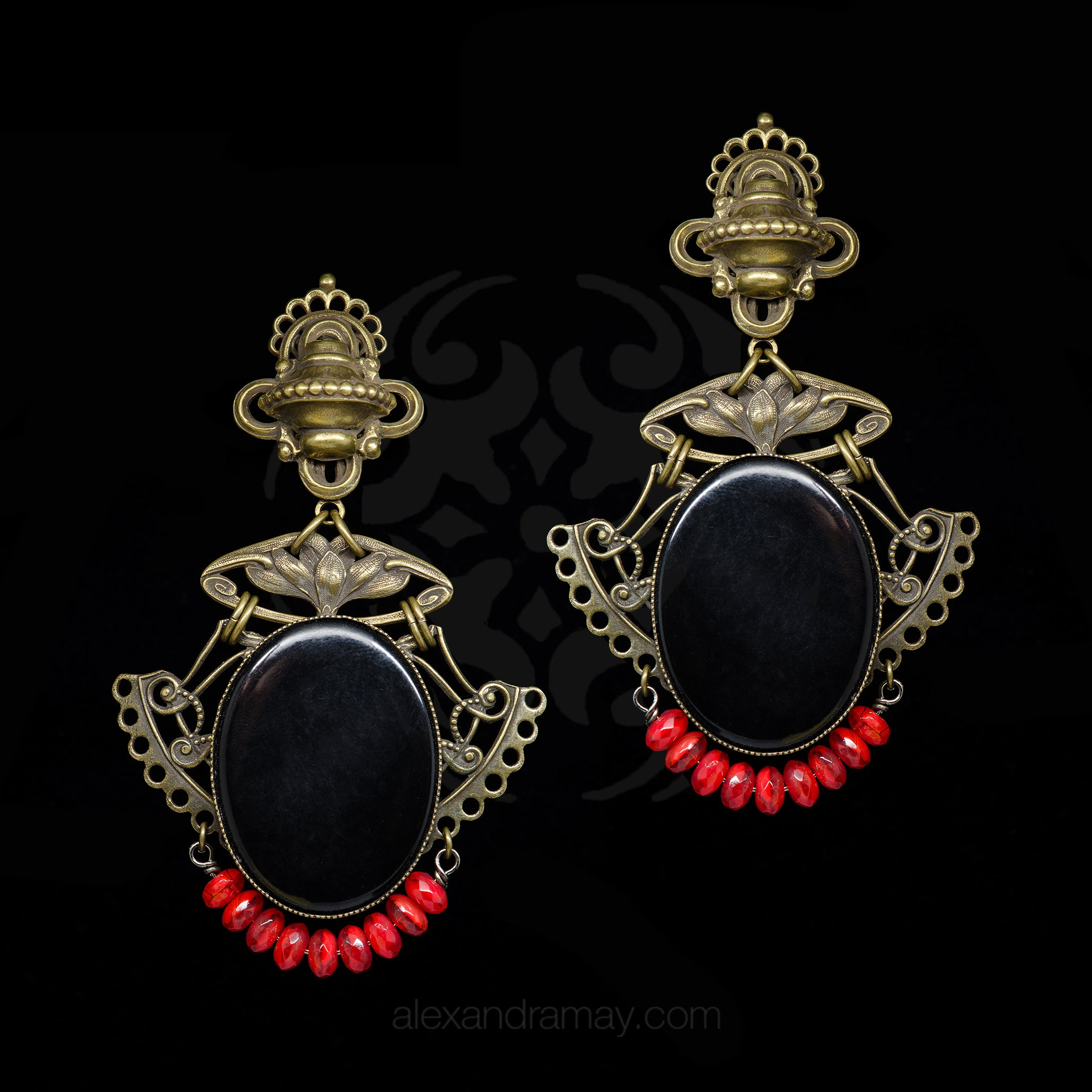 Jean Louis Blin Red and Black Bronzed Nouveau Clip-on Earrings (JLB7181) Front