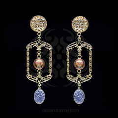 Jean-Louis Blin Ornate Gold Art Nouveau Coffee & Pastel Blue Earrings (JLB7055)