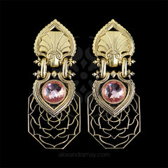 Jean-Louis Blin Gold Baroque Pink Crystal Clip-on Earrings (JLB6759) front