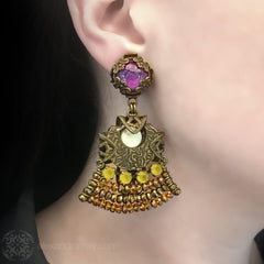 Jean-Louis Blin Art Nouveau Tiered Amethyst, Gold and Yellow Bronze Clip-on Earrings (JLB5424) Model