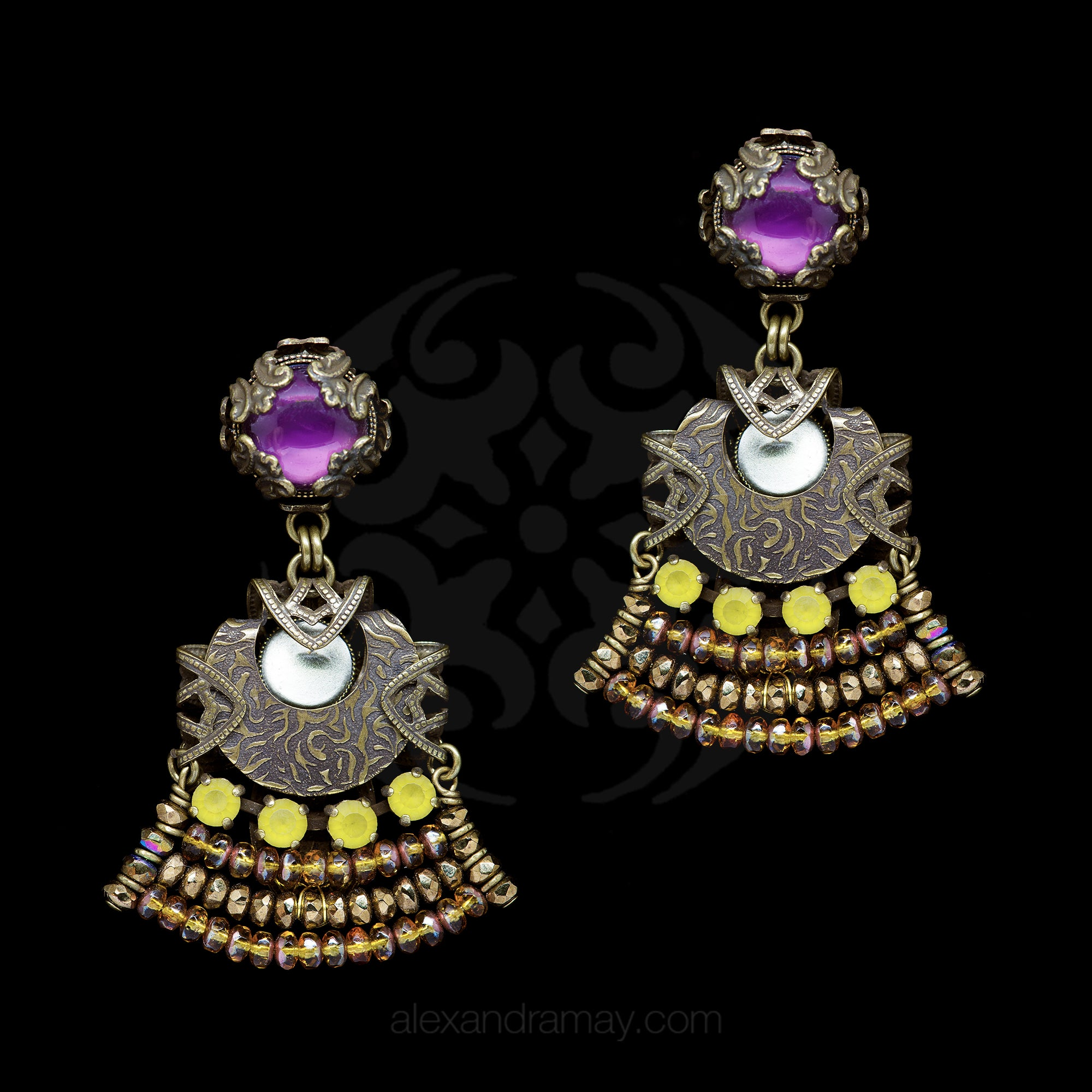 Jean-Louis Blin Art Nouveau Tiered Amethyst, Gold and Yellow Bronze Clip-on Earrings (JLB5424)