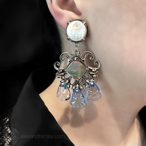 Jean-Louis Blin Mother of Pearl & Abalone Pale Blue Crystal Clip-on Earrings (JLB5919bis) model