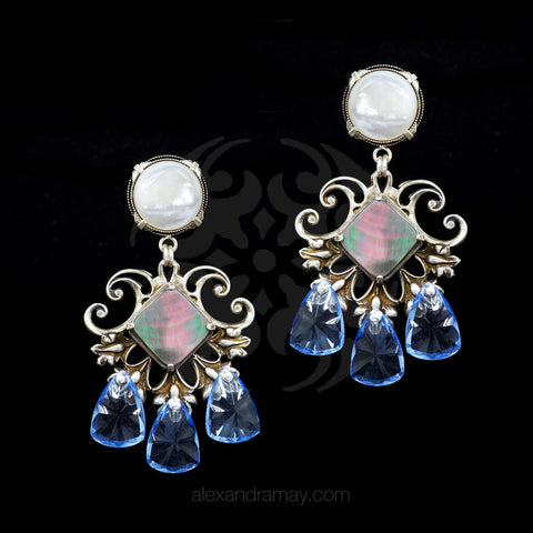 Jean-Louis Blin Mother of Pearl & Abalone Pale Blue Crystal Clip-on Earrings (JLB5919bis)