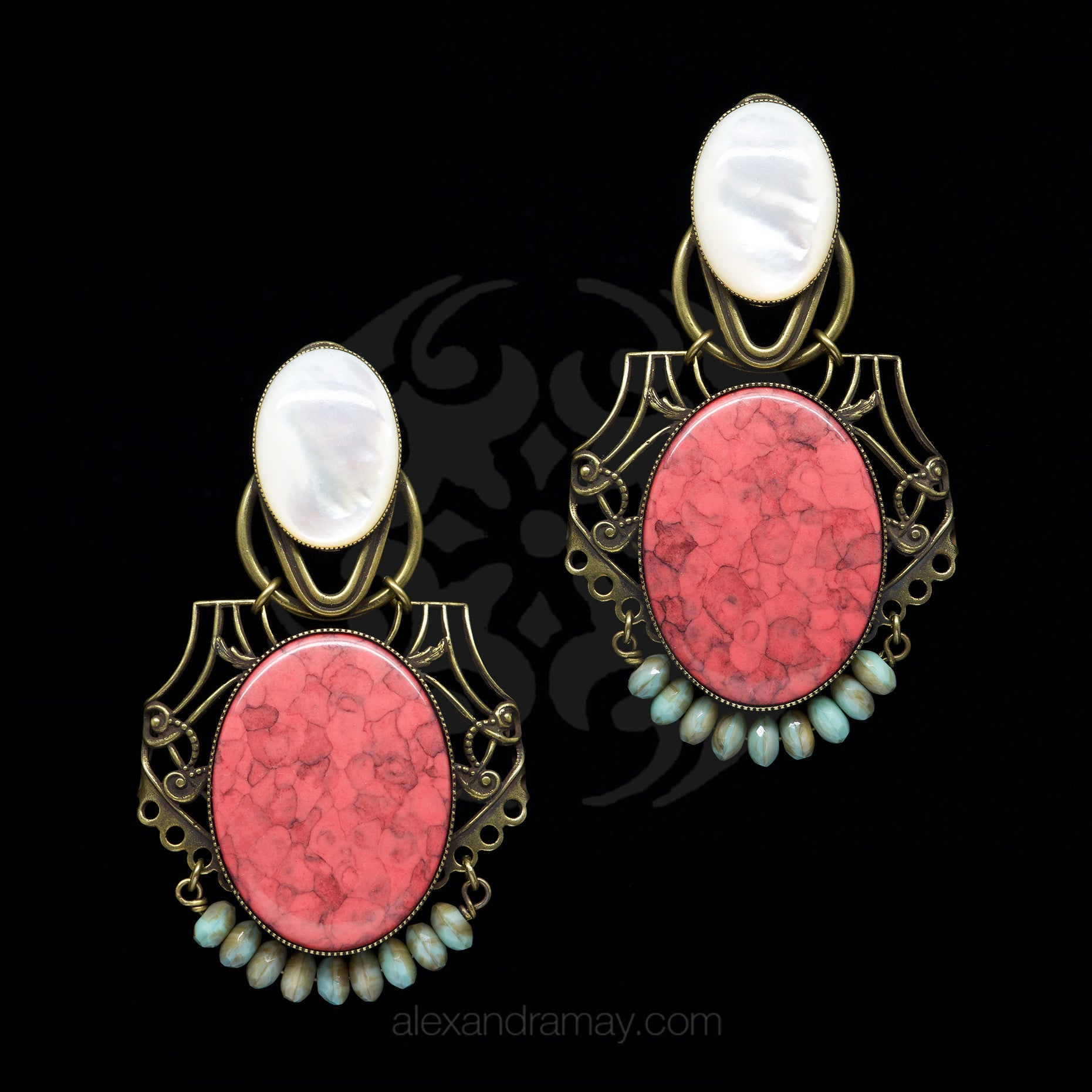 Jean-Louis Blin Art Nouveau Coral and Mother of Pearl Oval Clip-on Earrings