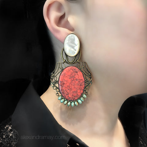 Jean-Louis Blin Art Nouveau Coral and Mother of Pearl Oval Clip-on Earrings (model)