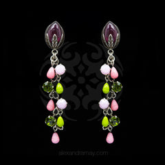 Jean-Louis Blin Silver Pink and Green Waterfall Clip-on Earrings