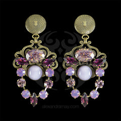 Jean-Louis Blin Lilac & Grape Chandelier Clip-on Earrings (JLB6610) front