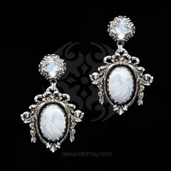 Jean-Louis Blin Silver & Iridescent Mother of Pearl Rococo Clip-on Earrings (JLB7057)