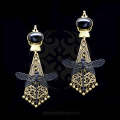 Jean-Louis Blin Matt Black & Bronze Filigree Dragonfly Earrings (JLB6961)