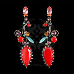 Konplott 'La Maitresse' Large Twirling Floral Red Earrings (253169) front