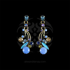 Konplott 'La Maitresse' Teal & Blue Bouquet Drop Earrings (253428) front