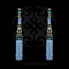 Konplott 'Aztec' Large Drop Blue Crystal Statement Earrings (351933) Front