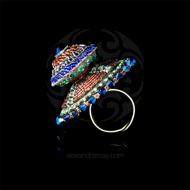 Konplott 'African Glam' Spectacular Large Double Blue & Green Beaded Ring (128047)