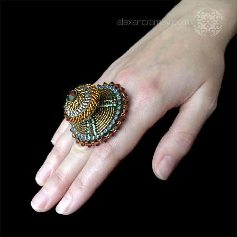 Konplott 'African Glam' Spectacular Large Double Amber & Lilac Beaded Ring (130705) hand