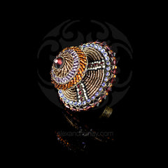 Konplott 'African Glam' Spectacular Large Double Amber & Lilac Beaded Ring (130705)
