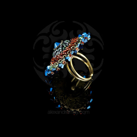 Konplott 'African Glam' Medium Beaded Blue & Green Ring (140421)
