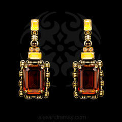 Konplott 'Aztec' Golden Amber Drop Earrings (354873) Front