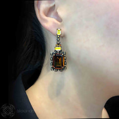Konplott 'Aztec' Golden Amber Drop Earrings (354873) Model