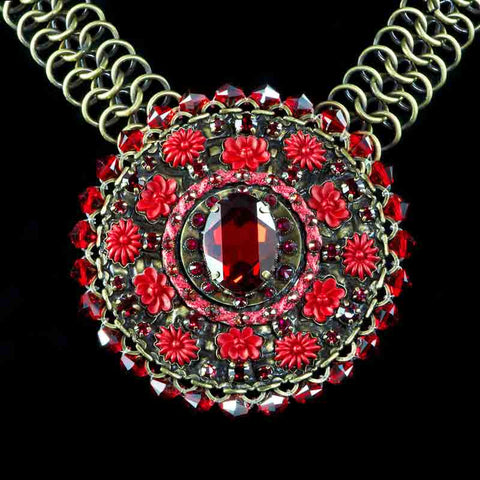 Konplott 'Blood Bite' Spactacular Large Red Crystal Disk Necklace (052007) closeup