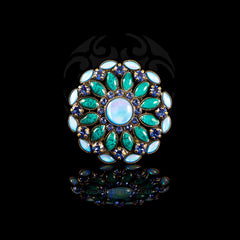 Konplott 'Ethnic Mosaic' Large Blue Resin Enamel & Crystal Ring (105017)