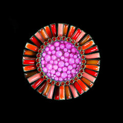 Konplott 'Doris Daisy' Large Pink & Orange Flower Brooch (106359)