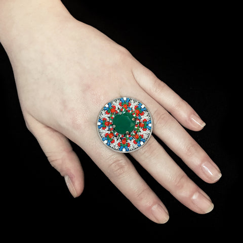 Konplott 'Dream Catcher' Round Green Beaded Statement Ring (482095)