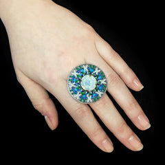 Konplott 'Dream Catcher' Turquoise White and Opaline Round Beaded Statement Ring (481654)