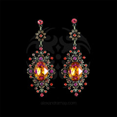 'Eternal Glory' Orange Crystal Floral Detail Pierced Earrings (179957) Front